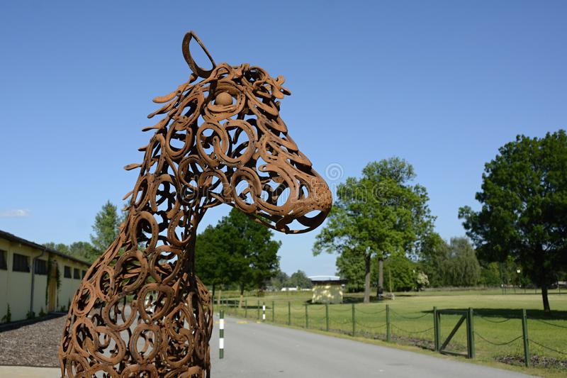 Detail of Sculpture of a Horse, Prague, Czech Republic, Europe. Detail of Sculpture of a Horse made of Horseshoes, Prague . Cisarsky ostrov, Czech Republic royalty free stock photo