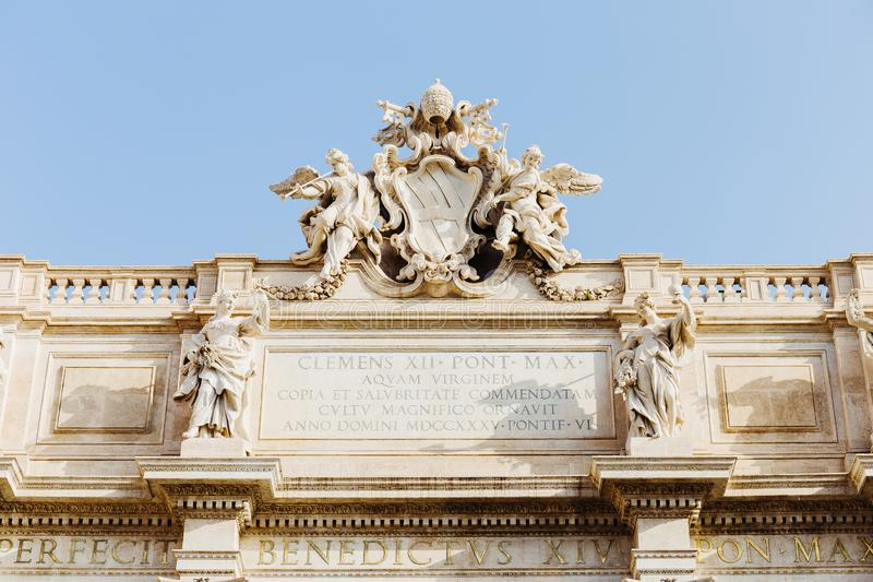 Detail of sculptures from top of the  Trevi Fountain in Rome, Italy royalty free stock photo