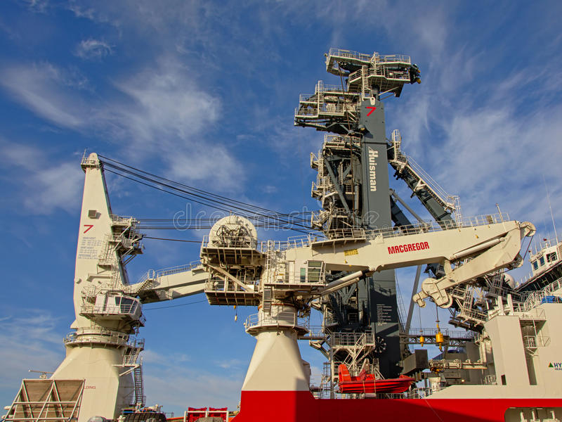 Detail of the `Seven Arctic` heavy construction vessel stock images