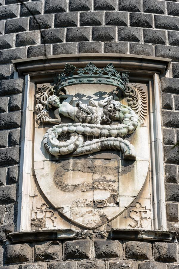 Coat of Arms of the Visconti - Sforza Castle Milan Italy royalty free stock image