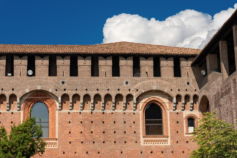 Sforza Castle - Milan Italy - Castello Sforzesco. Detail of the Sforza Castle XV century Castello Sforzesco. It is one of the main symbols of the city of Milan stock photo