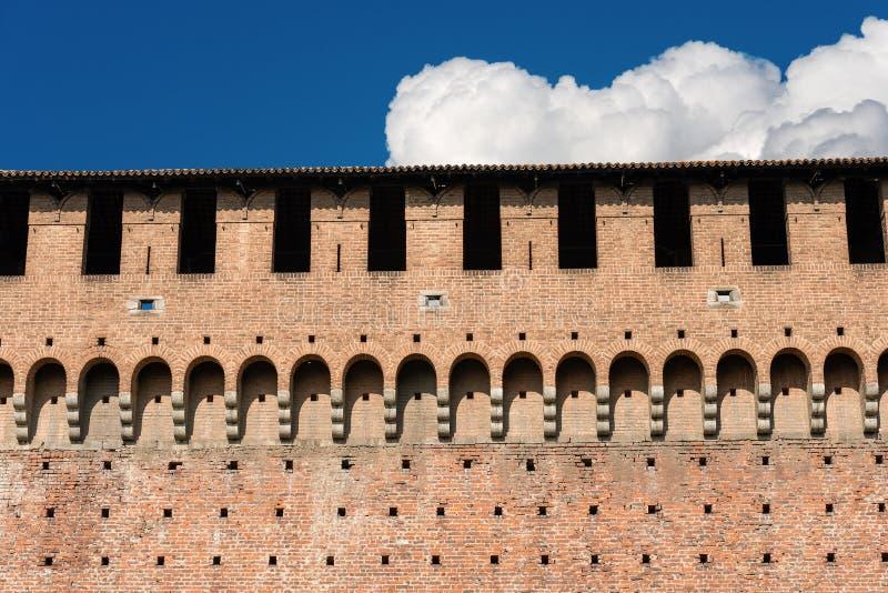 Sforza Castle - Milan Italy - Castello Sforzesco. Detail of the Sforza Castle XV century Castello Sforzesco. It is one of the main symbols of the city of Milan royalty free stock image