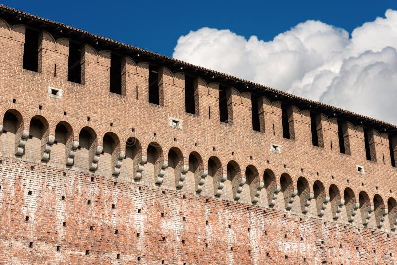 Sforza Castle - Milan Italy - Castello Sforzesco. Detail of the Sforza Castle XV century Castello Sforzesco. It is one of the main symbols of the city of Milan royalty free stock photos