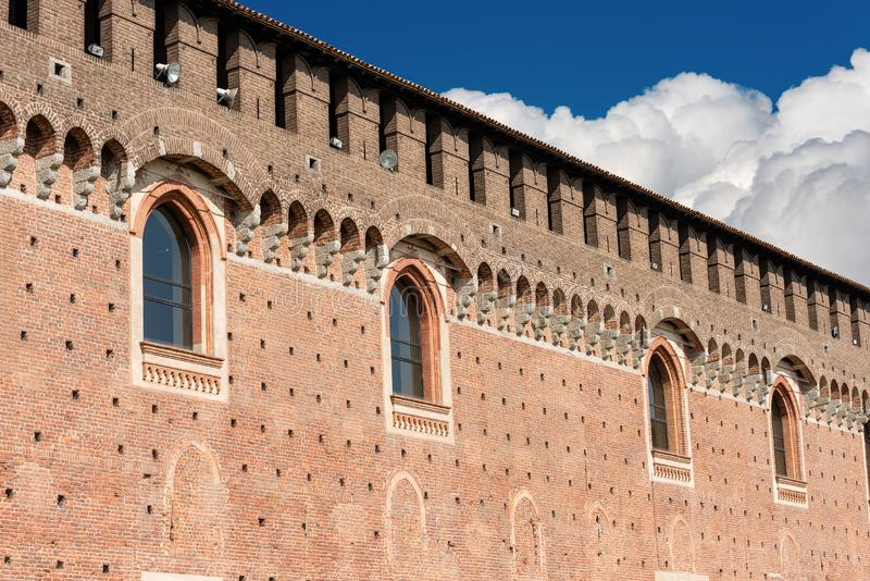 Sforza Castle - Milan Italy - Castello Sforzesco. Detail of the Sforza Castle XV century Castello Sforzesco. It is one of the main symbols of the city of Milan stock image