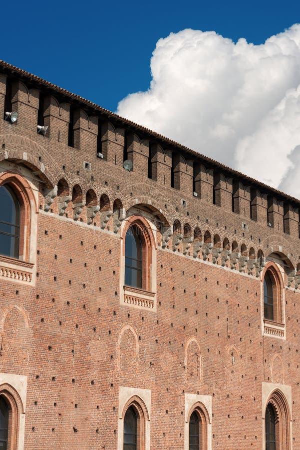 Sforza Castle - Milan Italy - Castello Sforzesco. Detail of the Sforza Castle XV century Castello Sforzesco. It is one of the main symbols of the city of Milan royalty free stock photography
