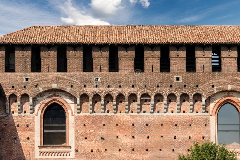 Sforza Castle - Milan Italy - Castello Sforzesco. Detail of the Sforza Castle XV century Castello Sforzesco. It is one of the main symbols of the city of Milan stock images