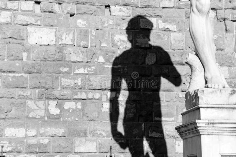 Shadow of the David statue from Michelangelo stock photos