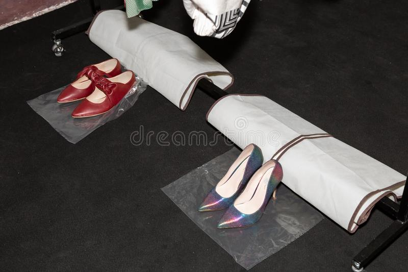 Detail of shoes in the backstage. MILAN, ITALY - SEPTEMBER 23: Detail of shoes in the backstage just before Francesca Liberatore show during Milan Women`s royalty free stock photography