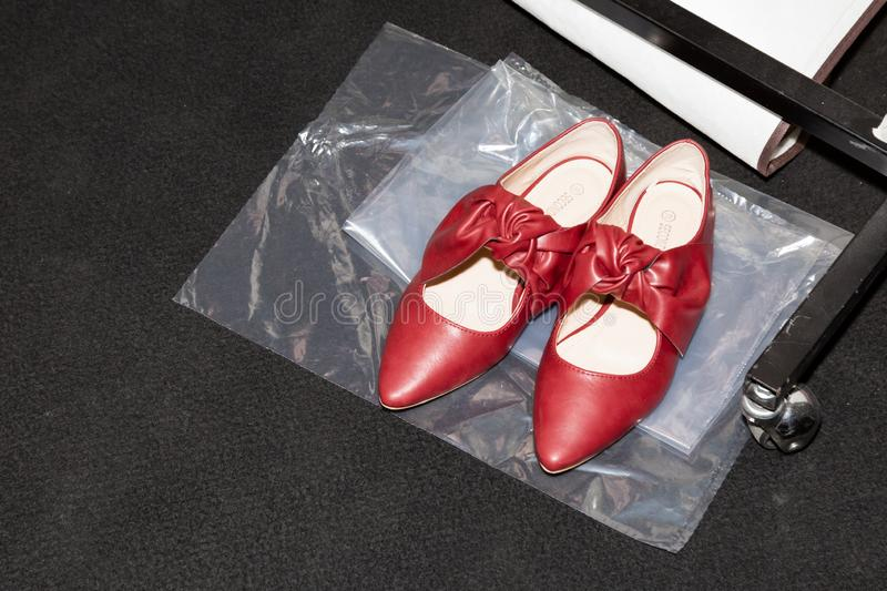 Detail of shoes in the backstage. MILAN, ITALY - SEPTEMBER 23: Detail of shoes in the backstage just before Francesca Liberatore show during Milan Women`s stock image