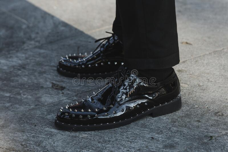 Detail of shoes during Milan Men`s Fashion Week stock photo
