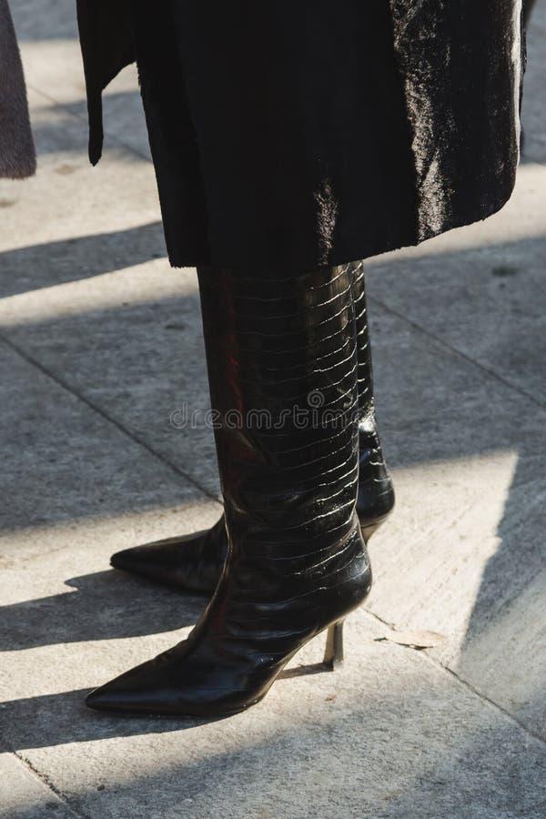 Detail of shoes during Milan Men`s Fashion Week stock images