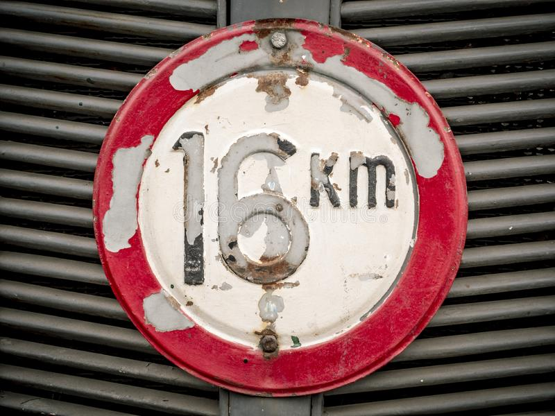 Detail shot of the front of an old tractor with information about the permitted maximum speed royalty free stock photography