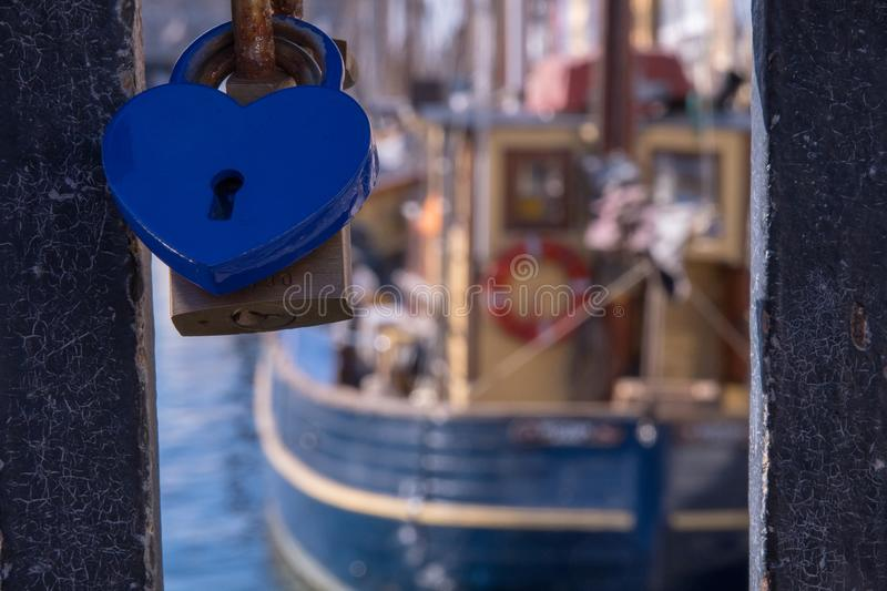 A detail shot showing Lovers Padlocks are linked together on the stock image