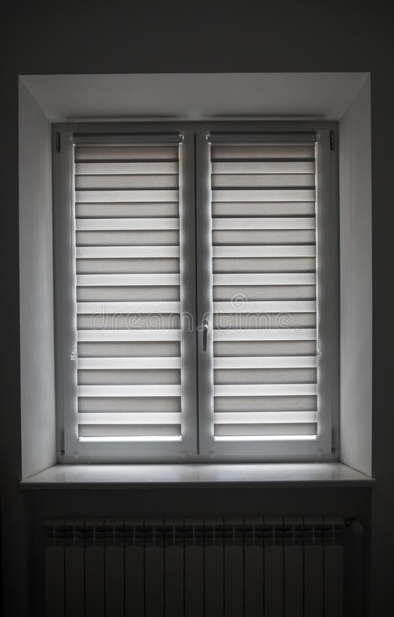 The Detail shot of white window blinds royalty free stock image