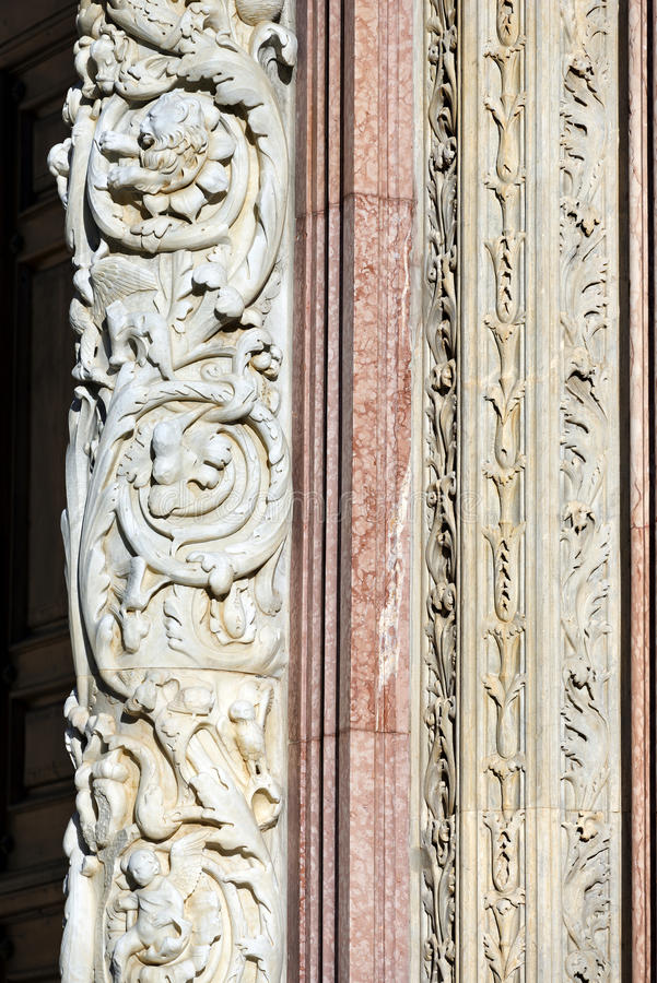 Detail of Siena Cathedral - Tuscany Italy royalty free stock photo