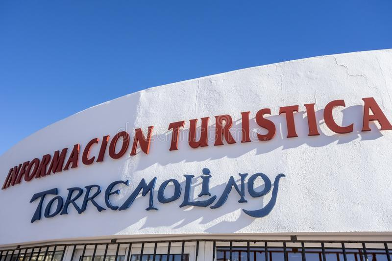 Detail sign building tourist information in Torremolinos,Spain. stock images