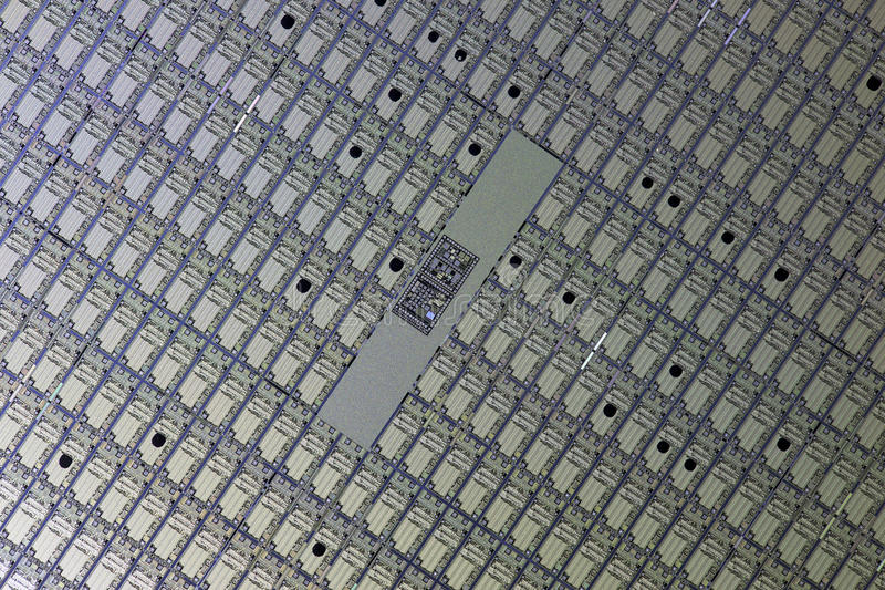 Detail of a silicon wafer stock image