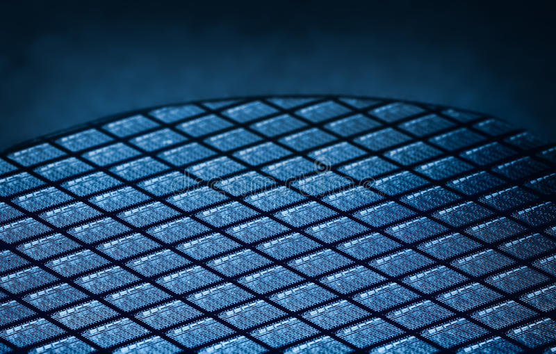 Detail of Silicon Wafer Containing Microchips stock photo