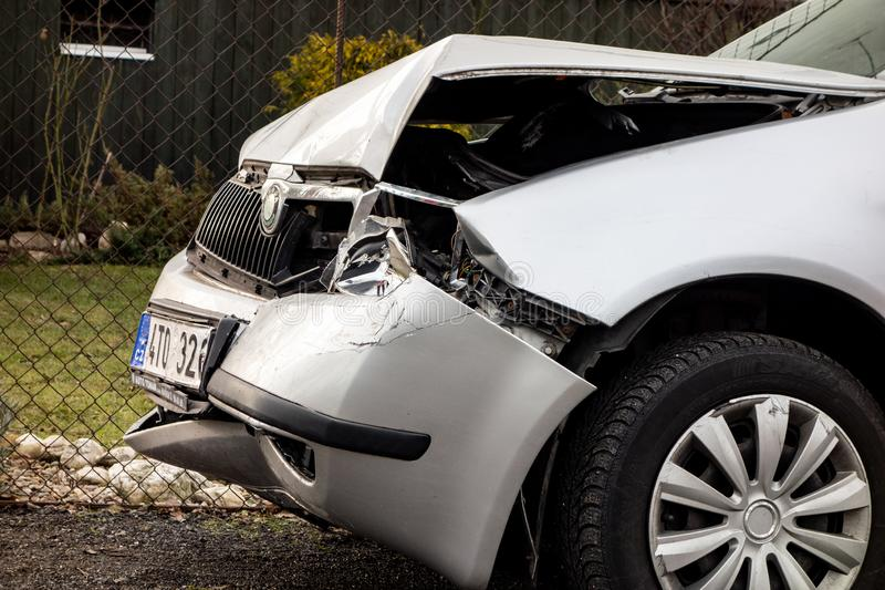A detail of a silver Czech Skoda Fabia car crashed in a frontal traffic accident stock photos