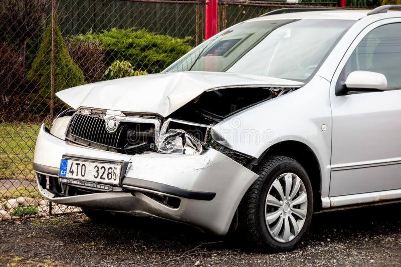 A detail of a silver Czech Skoda Fabia car crashed in a frontal traffic accident royalty free stock photo