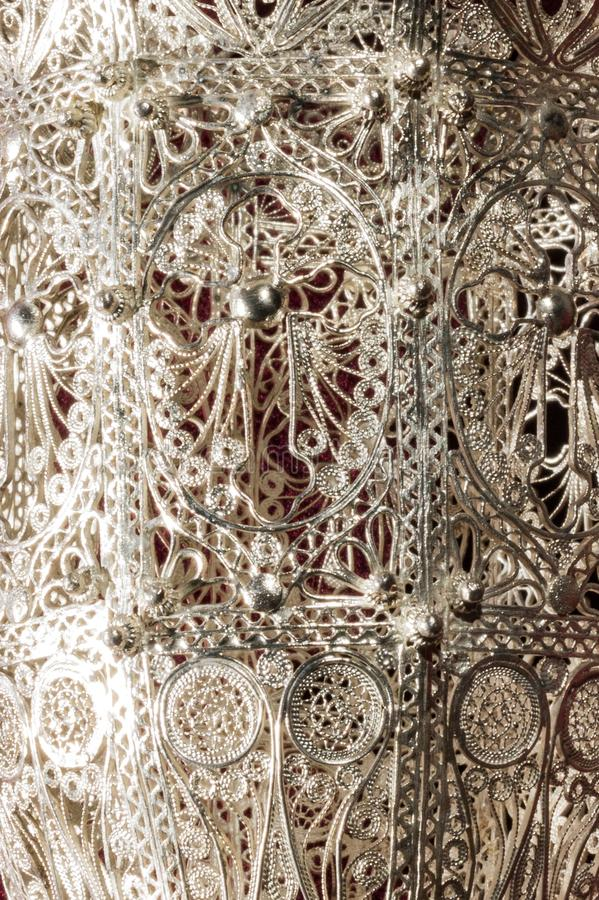 Detail of silver incensory with filigree work stock photography