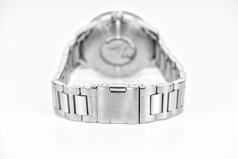 Detail of silver wristwatch royalty free stock image