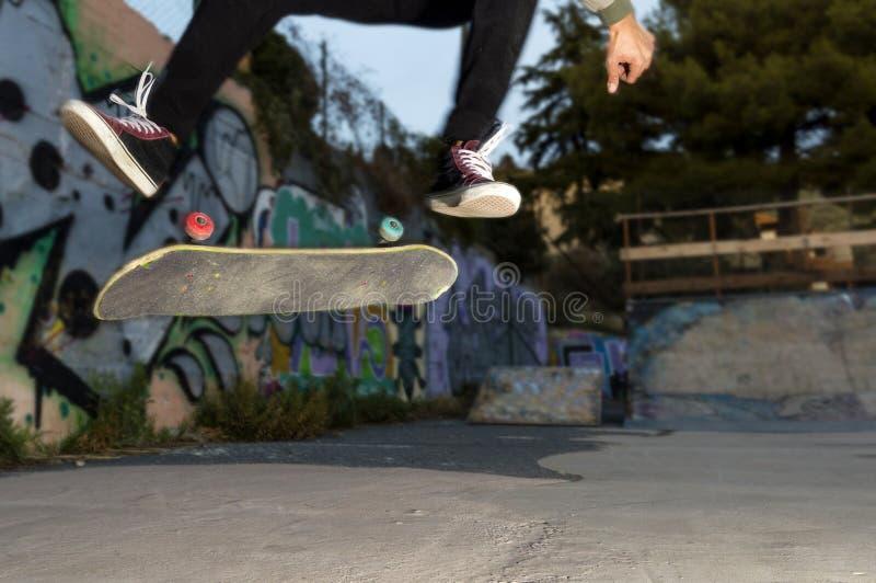 Detail of Skate big Kickflip royalty free stock photo