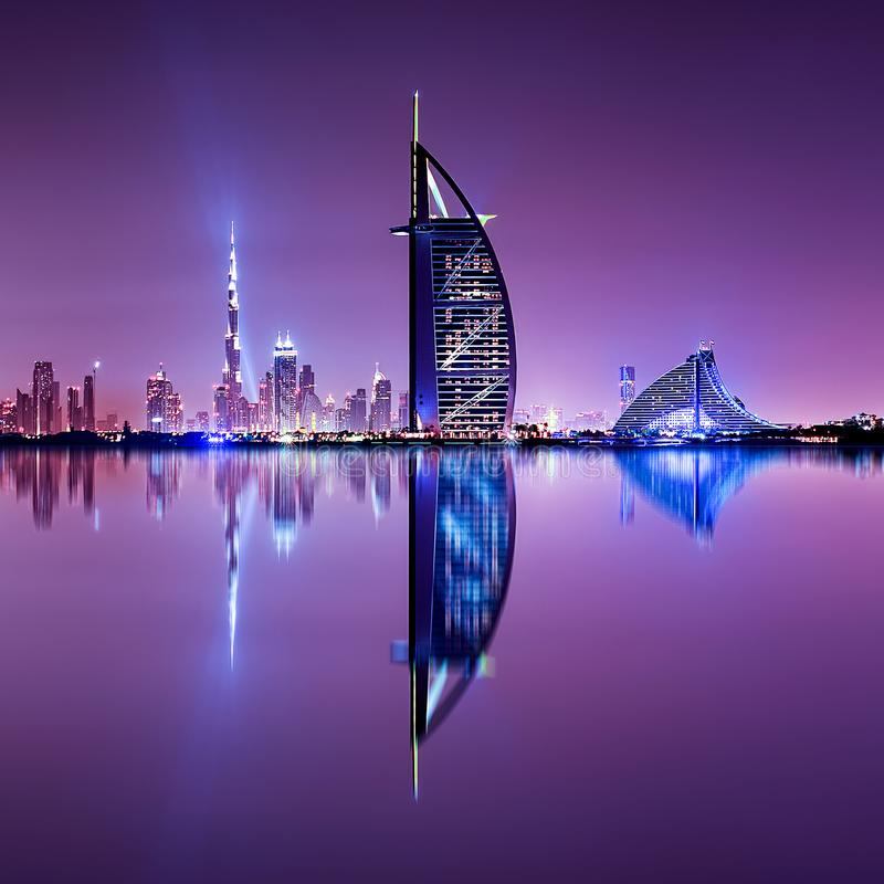 Detail of skyscraper reflection. The Palm island, United Arab Emirates. royalty free stock photos