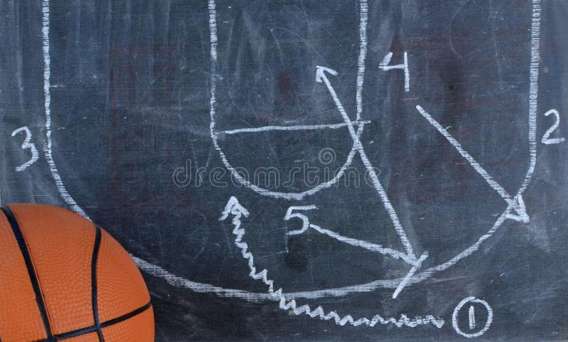 Detail of a small basketball and a chalkboard. royalty free stock images