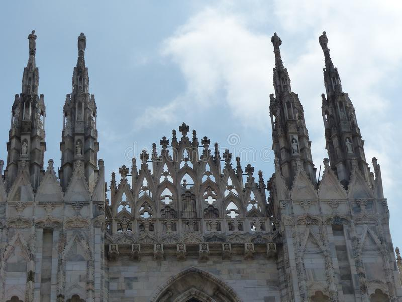 Detail of some spiers of the neogothic cathedral of Milan. Italy. royalty free stock photos