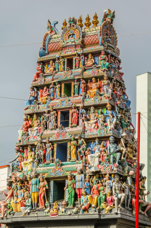 Detail of the Sri Mariamman Temple, Chinatown, Singapore royalty free stock photo