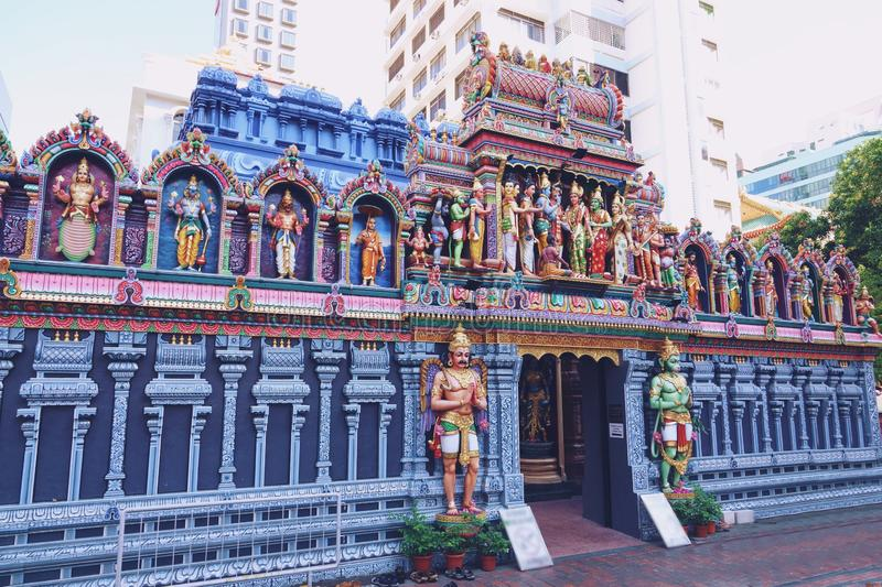 Detail of The Sri Mariamman Temple in Singapore stock images