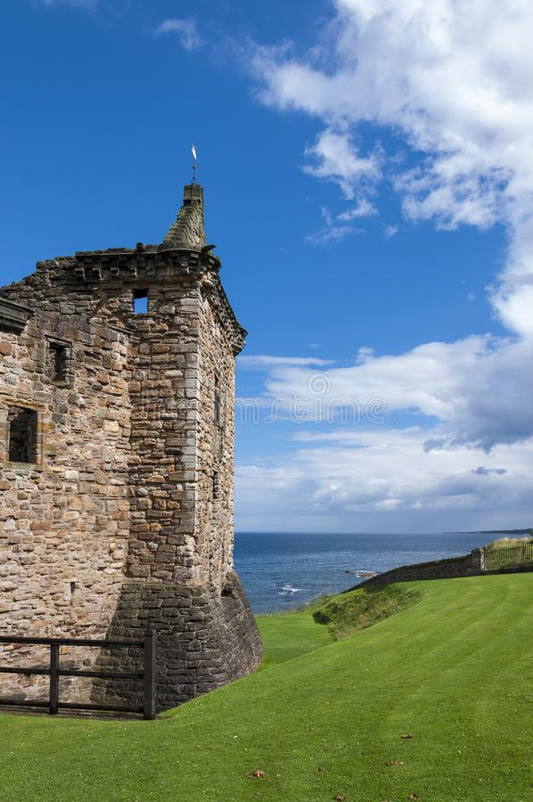 Detail of the St. Andrews Castle in the Royal Burgh of St Andrews in Fife, Scotland. United Kingdom royalty free stock images