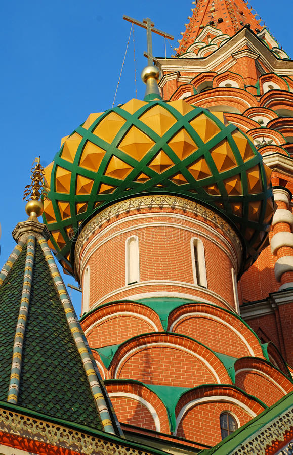 Detail of St. Basils cathedral on Red Square in Moscow stock photos
