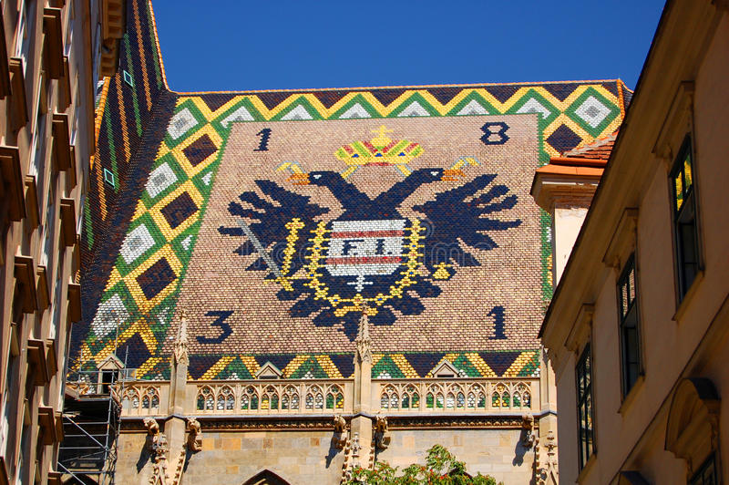 Detail of the St. Stephen cathedral roof, Vienna stock photo