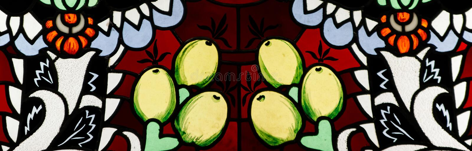 Detail of a stained glass window. Bright colors, shot close-up royalty free stock photos