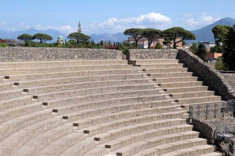 Grand Theater of Pompeii in Italy. Detail of the stands of the Pompeii amphitheater in Italy royalty free stock images