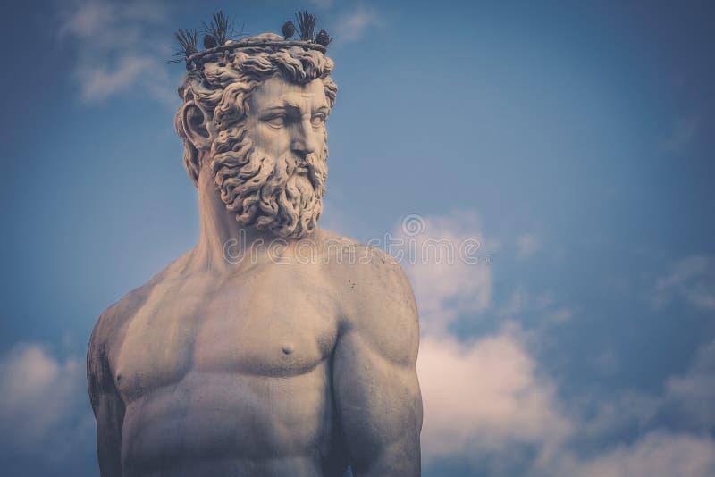 Detail of the statue of the Fountain of Neptune Fontana del Nettuno on the Piazza della Signoria in Florence, Italy. stock photo