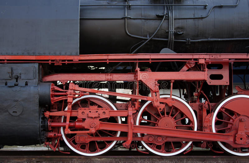 Detail of a steam locomotive - RAW format. Detail of a restored steam locomotive in Brasov station royalty free stock photography