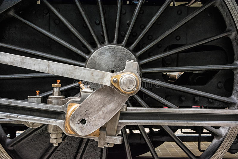Detail of steam locomotive wheel royalty free stock image