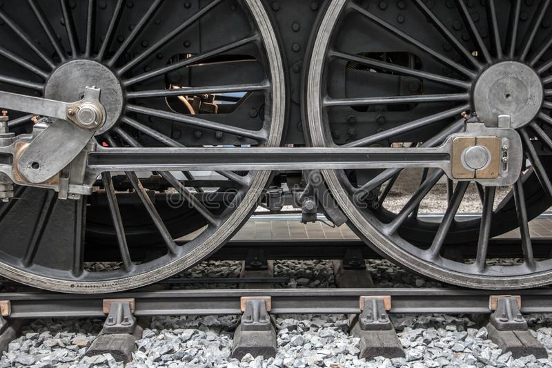 Detail of steam locomotive wheel royalty free stock photos