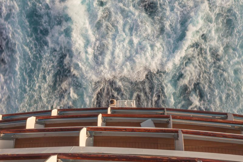 Detail of the stern of a cruise ship and the wake left by the propellers. Mediterranean sea stock photography