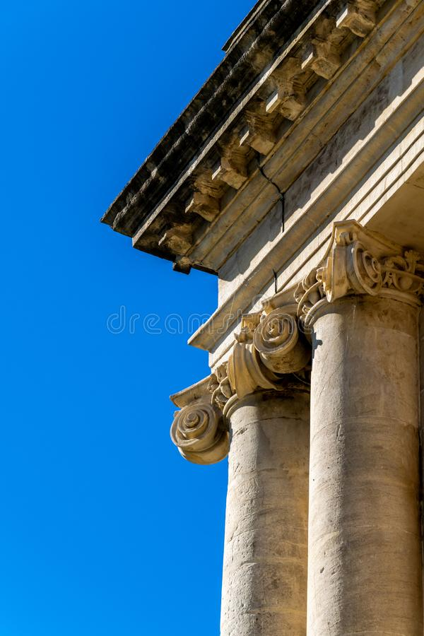 Detail of the stonework showing ionic columns and modillion cornice of the Royal Crescent, Bath, stock photo