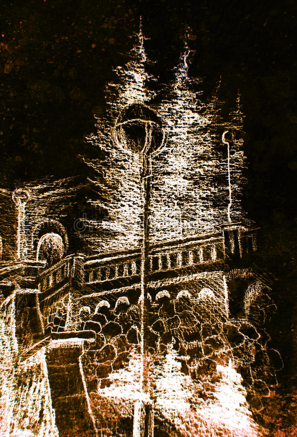 Detail of a street lamp in old town, pencil drawing, color effect on abstract background. stock illustration