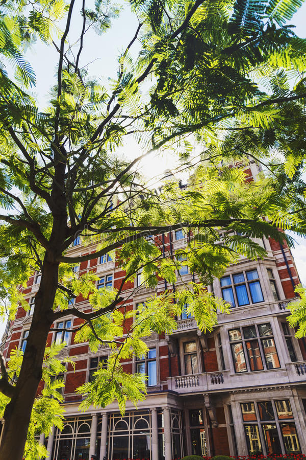 Detail of the streets of London city centre near Grosvenor Square and Duke Street. LONDON, UNITED KINGDOM - August 6th, 2016: Detail of beautiful buildings stock images