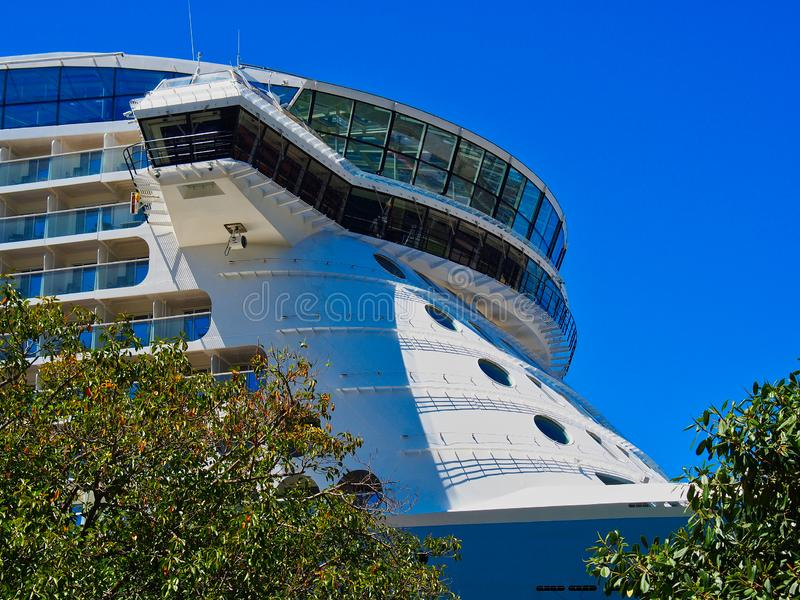 Detail of a Large Modern Cruise Ship stock photo
