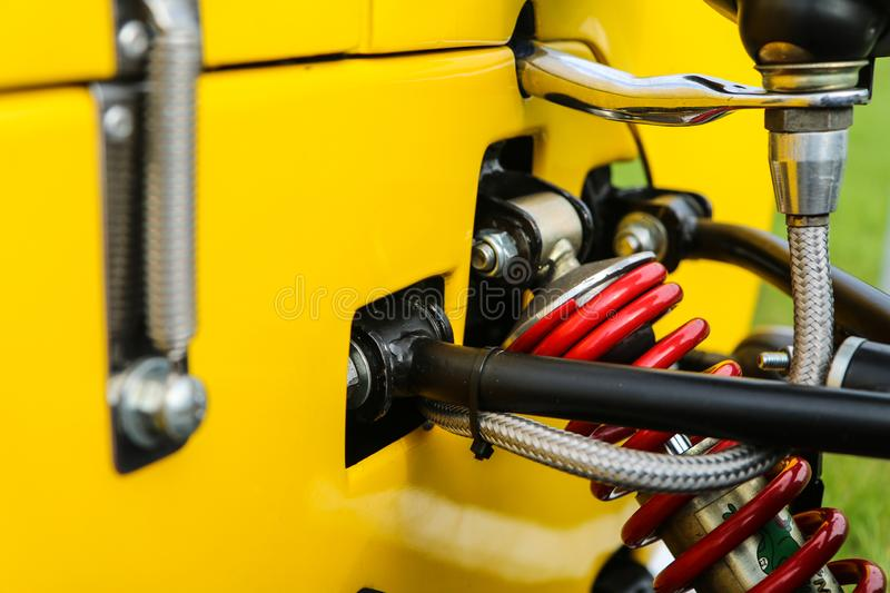 A detail of the suspension of a light sport car. stock image