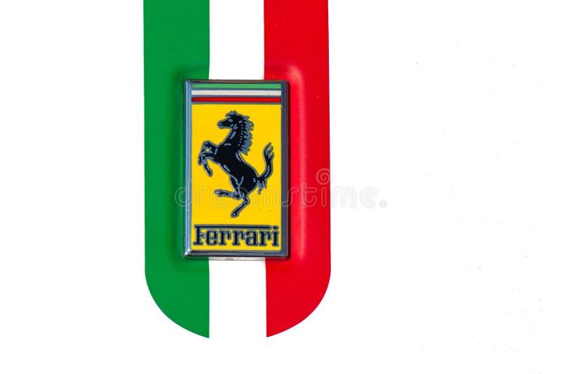 Detail Of The Symbol With Italian Flag Of A Ferrari Car Editorial