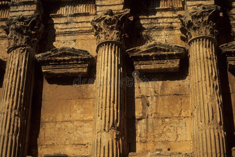 Detail, Tempel van Bacchus stock foto