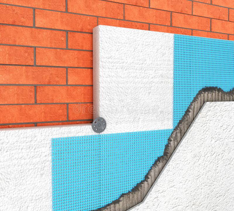 Detail of Thermal insulation of a brick wall with polyurethane panels on a white 3d stock images